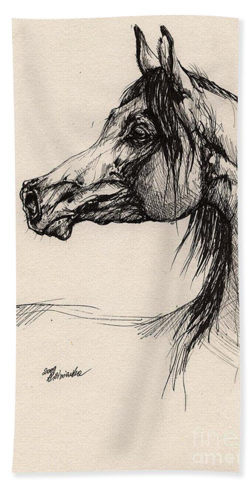 Horse Drawing Bath Towel featuring the drawing Arabian Horse Drawing 26 by Angel Ciesniarska