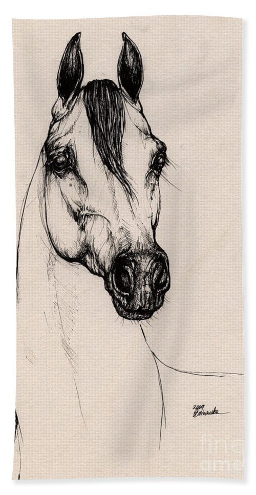 Arabian Horse Hand Towel featuring the drawing Arabian Horse Drawing 29 by Angel Tarantella