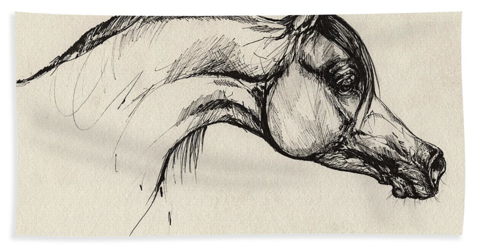 Horse Hand Towel featuring the drawing Arabian Horse Drawing 30 by Angel Ciesniarska
