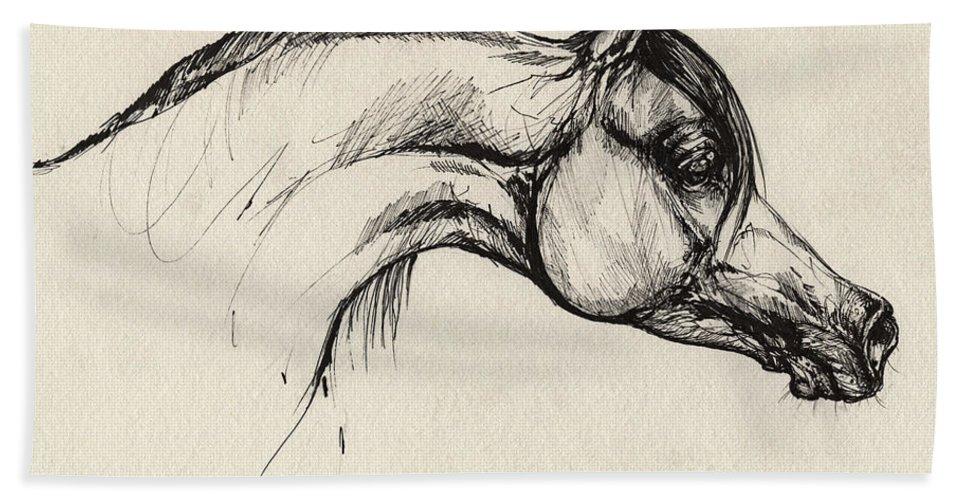 Horse Bath Sheet featuring the drawing Arabian Horse Drawing 30 by Angel Ciesniarska