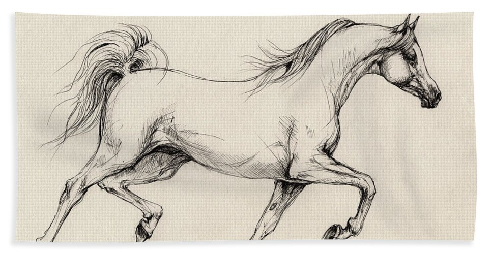 Grey Hand Towel featuring the drawing Arabian Horse Drawing 31 by Angel Ciesniarska