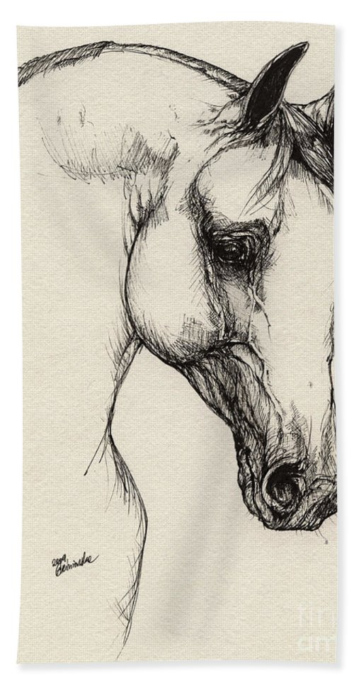 Horse Hand Towel featuring the drawing Arabian Horse Drawing 32 by Angel Ciesniarska