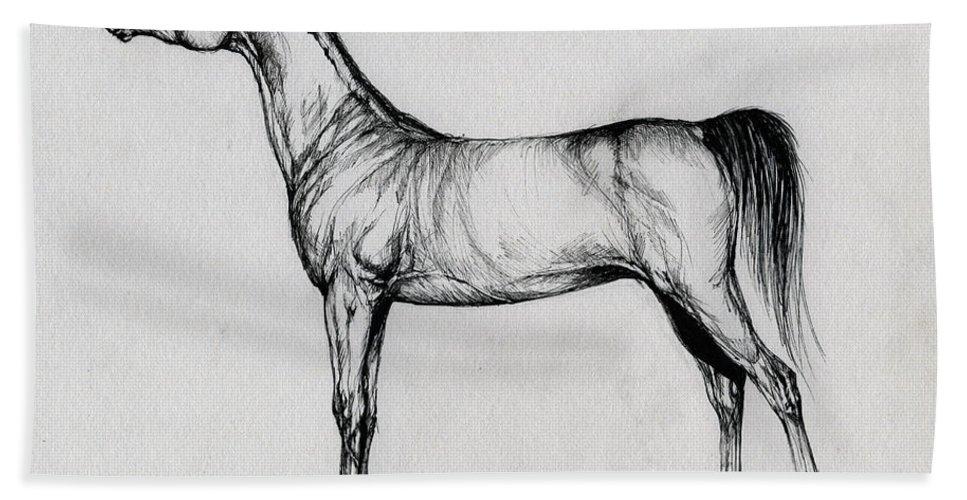 Arab Bath Sheet featuring the drawing Arabian Horse Drawing 34 by Angel Ciesniarska
