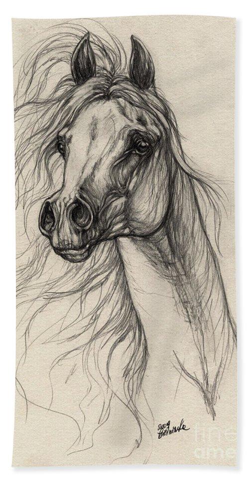 Horse Hand Towel featuring the drawing Arabian Horse Drawing 37 by Angel Tarantella