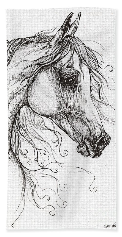 Horse Bath Sheet featuring the drawing Arabian Horse Drawing 48 by Angel Ciesniarska