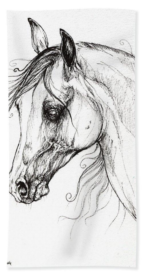Horse Bath Sheet featuring the drawing Arabian Horse Drawing 49 by Angel Ciesniarska