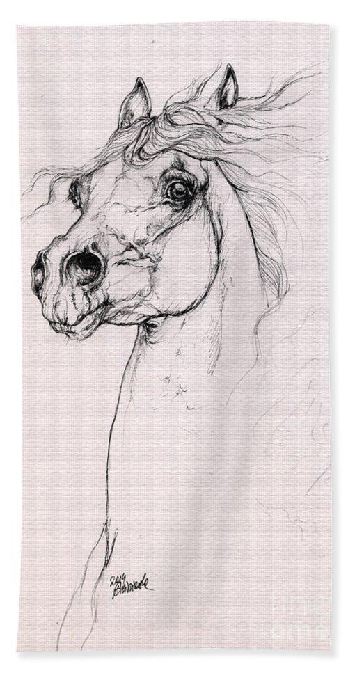 Horse Hand Towel featuring the drawing Arabian Horse Portrait 2014 02 25 by Angel Ciesniarska