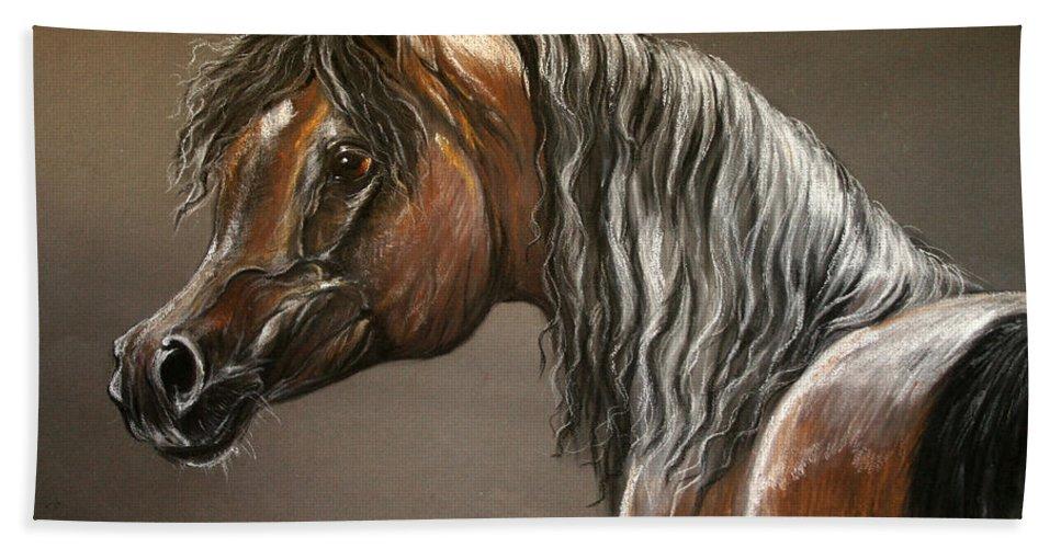 Arabian Horse Hand Towel featuring the drawing Arabian Mare by Angel Ciesniarska