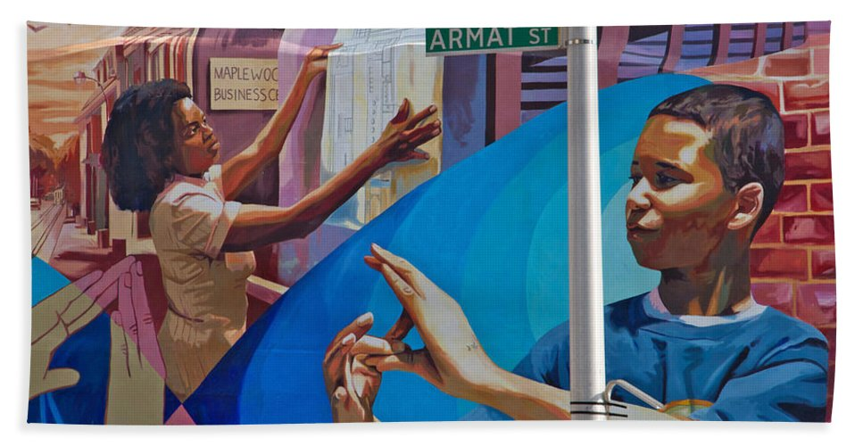 Germantown Bath Sheet featuring the photograph Aramat St Mural by Alice Gipson