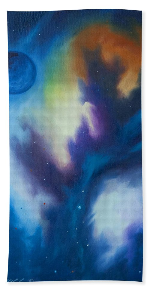 Planet Hand Towel featuring the painting Aramon Nebula by James Christopher Hill