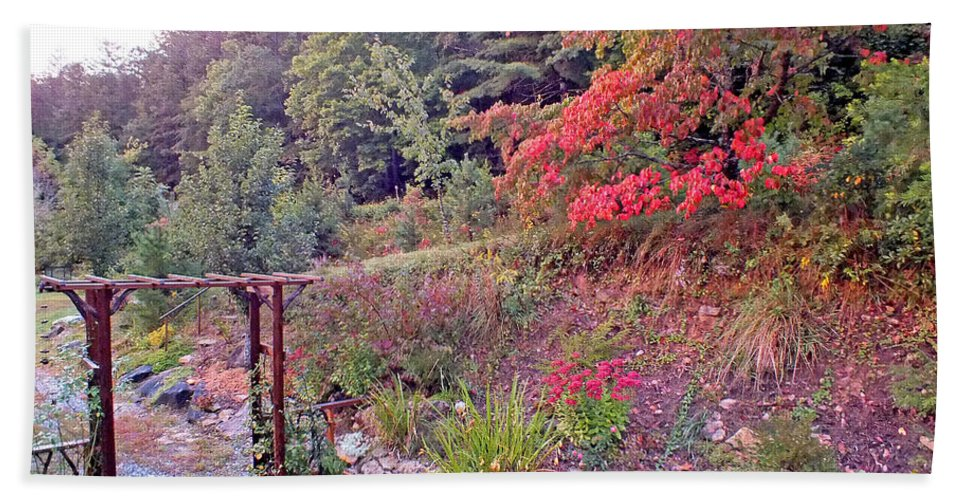 Duane Mccullough Bath Towel featuring the photograph Arbor And Fall Colors by Duane McCullough