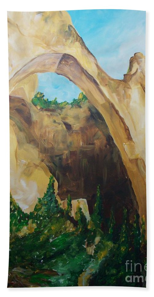 Floral Hand Towel featuring the painting Arch by Eric Schiabor