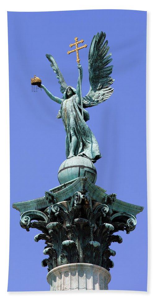 Archangel Hand Towel featuring the photograph Archangel Gabriel Statue In Budapest by Artur Bogacki