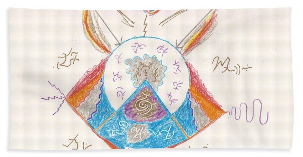 Michael Bath Sheet featuring the drawing Archangel Michael by Mark David Gerson
