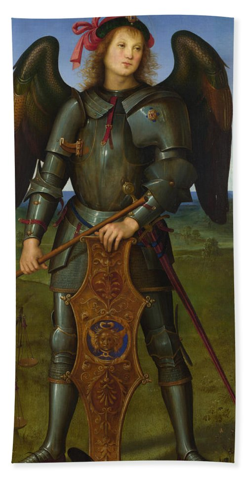 Angel Hand Towel featuring the painting Archangel Michael by Pietro Perugino