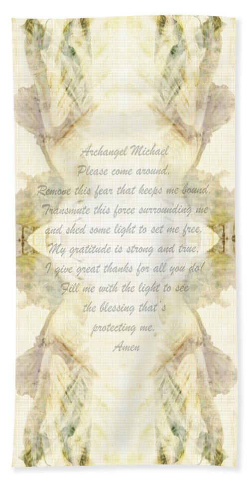 Prayer Hand Towel featuring the photograph Archangel Michael Remove Fear by Deprise Brescia