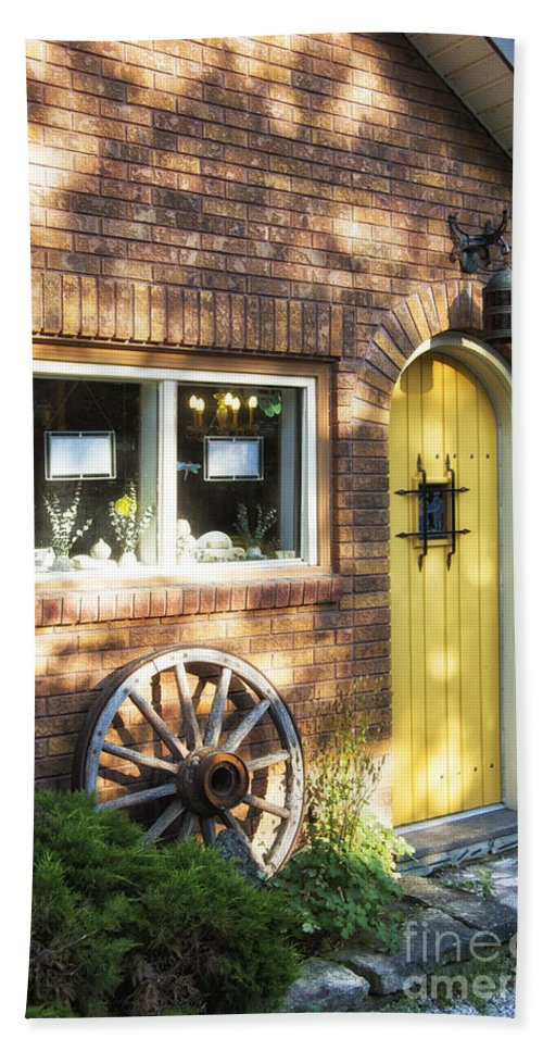 Timothy Hacker Bath Sheet featuring the photograph Arched Yellow Door by Timothy Hacker