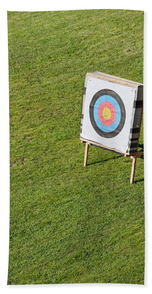 Archery Hand Towel featuring the photograph Archery Round Target On A Stand by Artur Bogacki