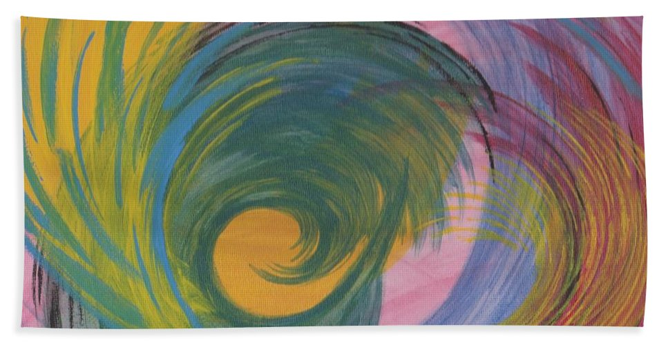 Curves Hand Towel featuring the painting Arches Swirls by Jill Christensen