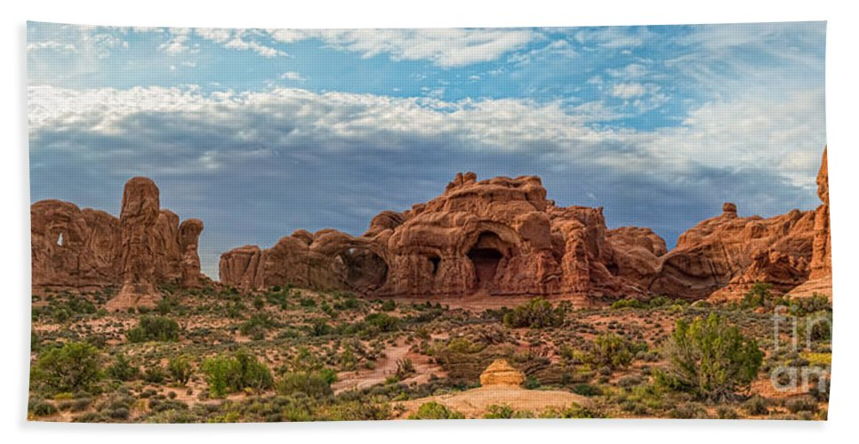 Delicate Bath Sheet featuring the photograph Arches National Park Pano by Michael Ver Sprill