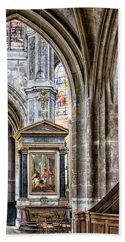 Stained Glass Window Hand Towel featuring the photograph Arches by Nigel R Bell