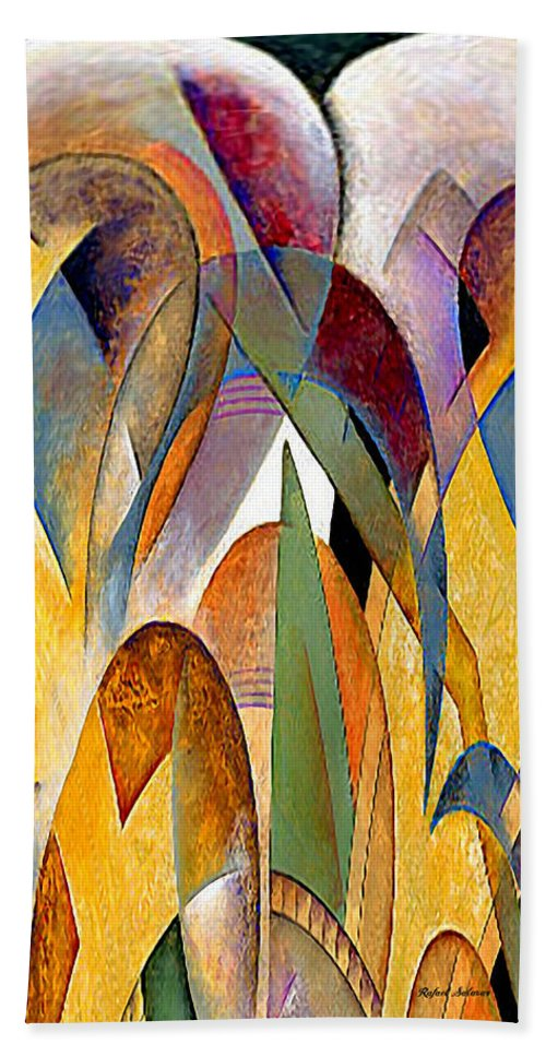 Abstract Hand Towel featuring the mixed media Arches by Rafael Salazar