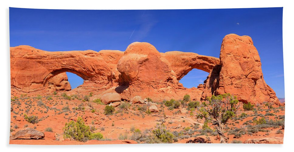 Arches National Park Bath Sheet featuring the photograph Arches Windows by Greg Norrell