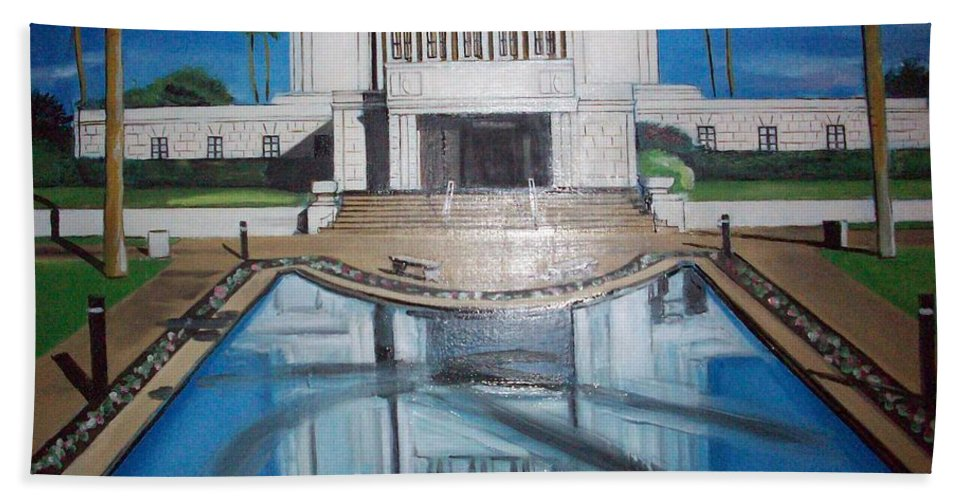 Bath Sheet featuring the painting Architectural Landscape by Jude Darrien