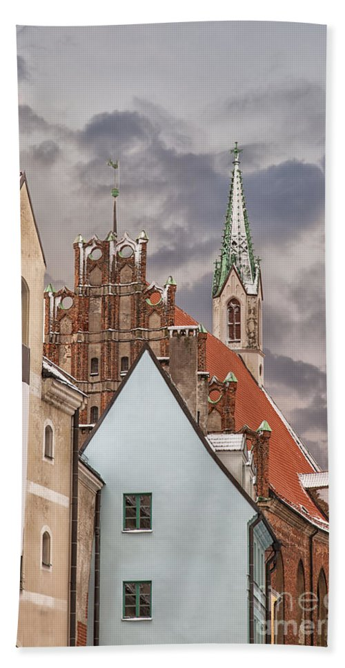 Winter Hand Towel featuring the photograph Architecture In Riga Latvia by Sophie McAulay