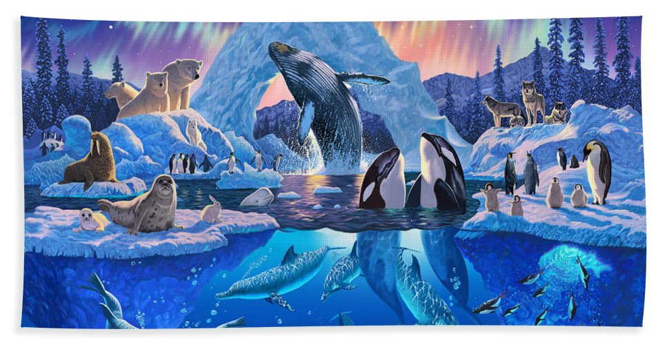 Animal Bath Towel featuring the photograph Arctic Harmony by MGL Meiklejohn Graphics Licensing