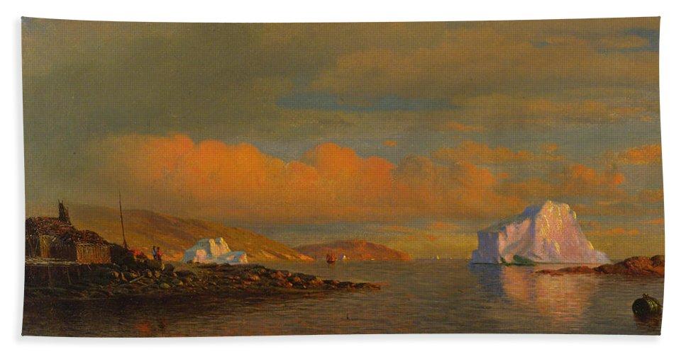 William Bradford Hand Towel featuring the painting Arctic Sunset by William Bradford