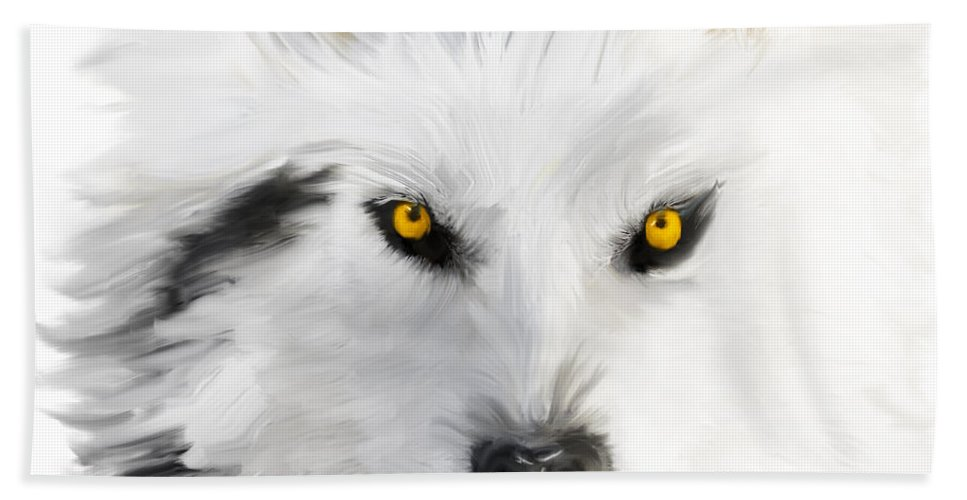 Wolf Hand Towel featuring the painting Arctic Wolf With Yellow Eyes by Angela Stanton