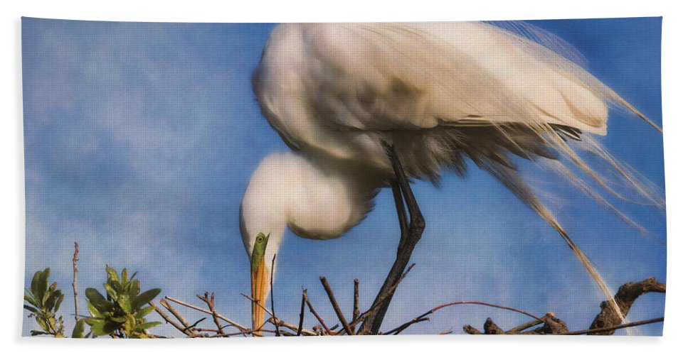 Egret Bath Towel featuring the photograph Are They Going To Hatch Soon by Deborah Benoit