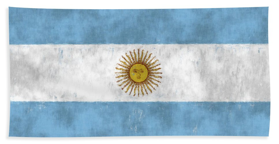 Argentina Hand Towel featuring the digital art Argentina Flag by World Art Prints And Designs
