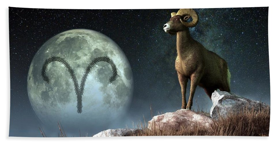 Aries Bath Sheet featuring the digital art Aries Zodiac Symbol by Daniel Eskridge