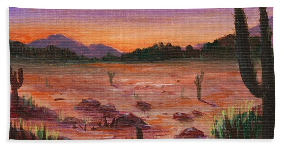 Calm Bath Sheet featuring the painting Arizona Desert by Anastasiya Malakhova