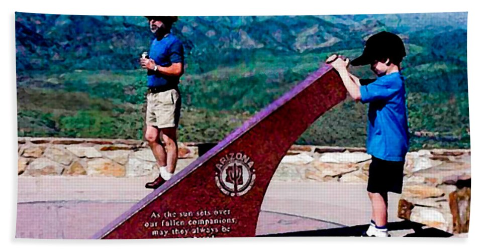 Arizona Hand Towel featuring the photograph Arizona Highway Patrol Memorial by Bob and Nadine Johnston