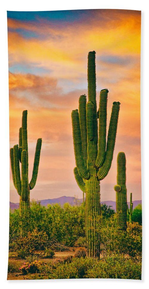 Saguaros Hand Towel featuring the photograph Arizona Life by James BO Insogna
