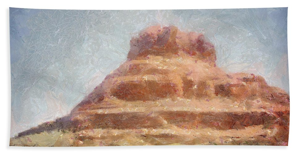 United States Of America Bath Towel featuring the painting Arizona Mesa by Jeffrey Kolker