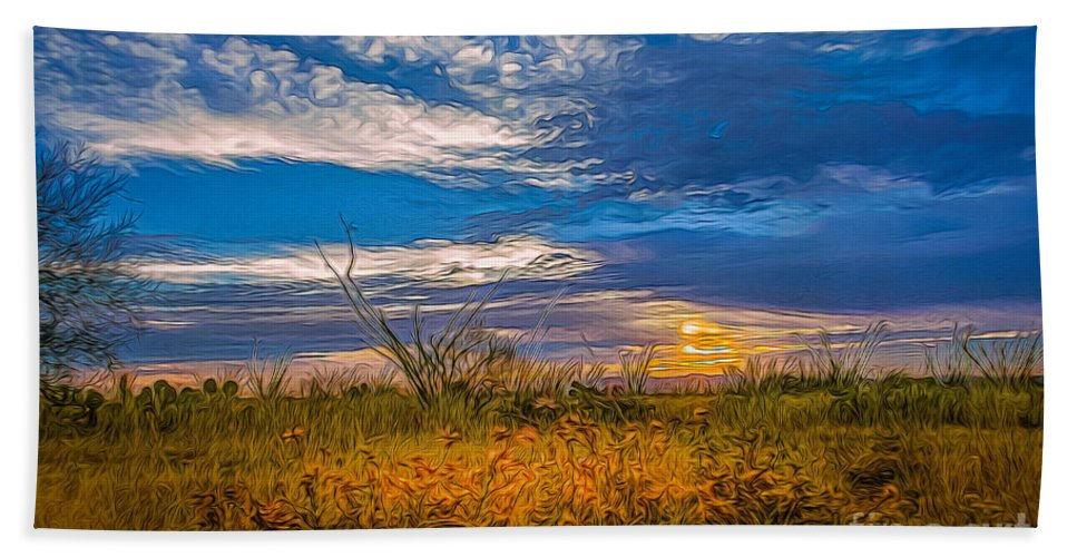 Sunset Bath Sheet featuring the photograph Arizona Sunset 27 by Larry White