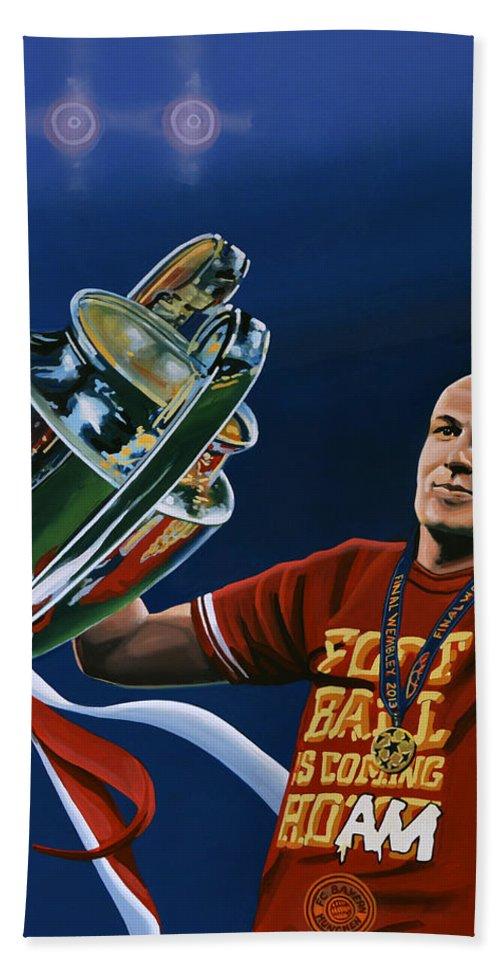 Arjen Robben Hand Towel featuring the painting Arjen Robben by Paul Meijering