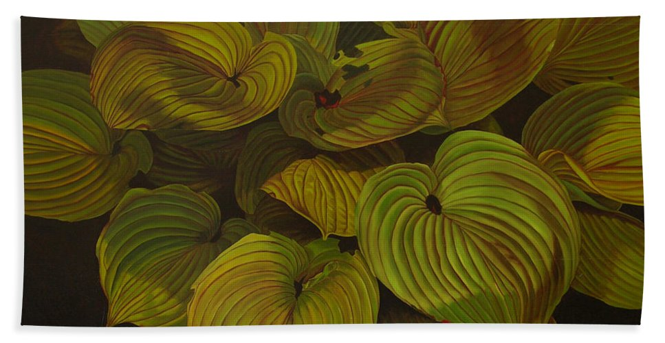 Plants Bath Sheet featuring the painting Arkansas Green by Thu Nguyen