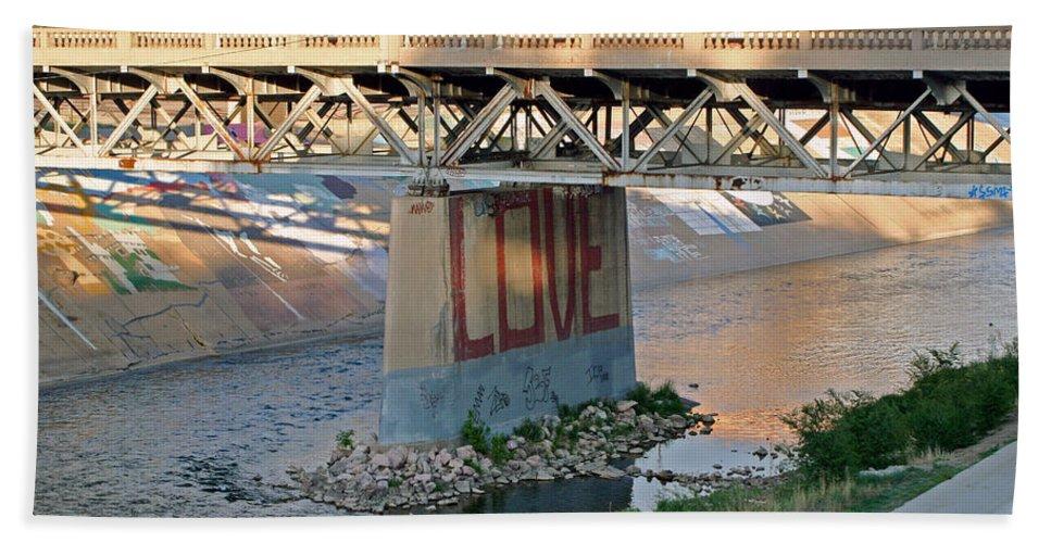 Bridge Hand Towel featuring the photograph Arkansas River Walk by Shirley Roberson