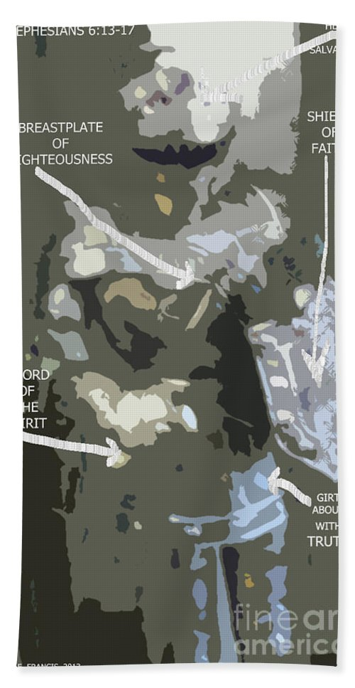 Armour Hand Towel featuring the digital art Armour by Karen Francis