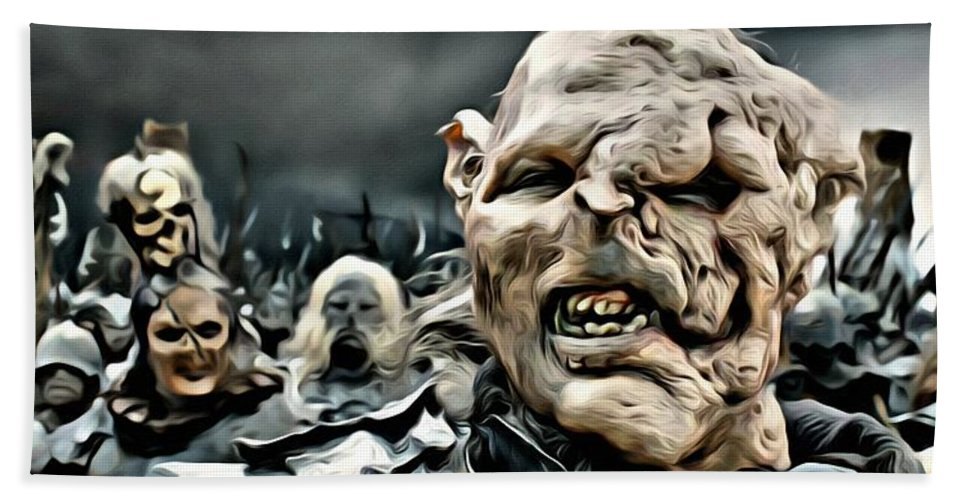 Orc Bath Sheet featuring the painting Army Of Orcs by Florian Rodarte