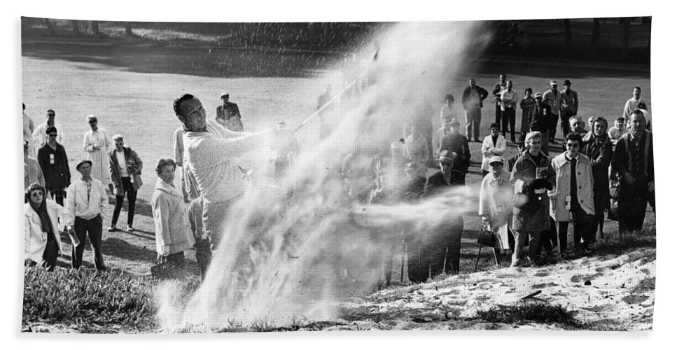 Bing Crosby Bath Towel featuring the photograph Arnold Palmer At Pebble Beach California Rey Ruppel Photo Circa 1955 by California Views Archives Mr Pat Hathaway Archives