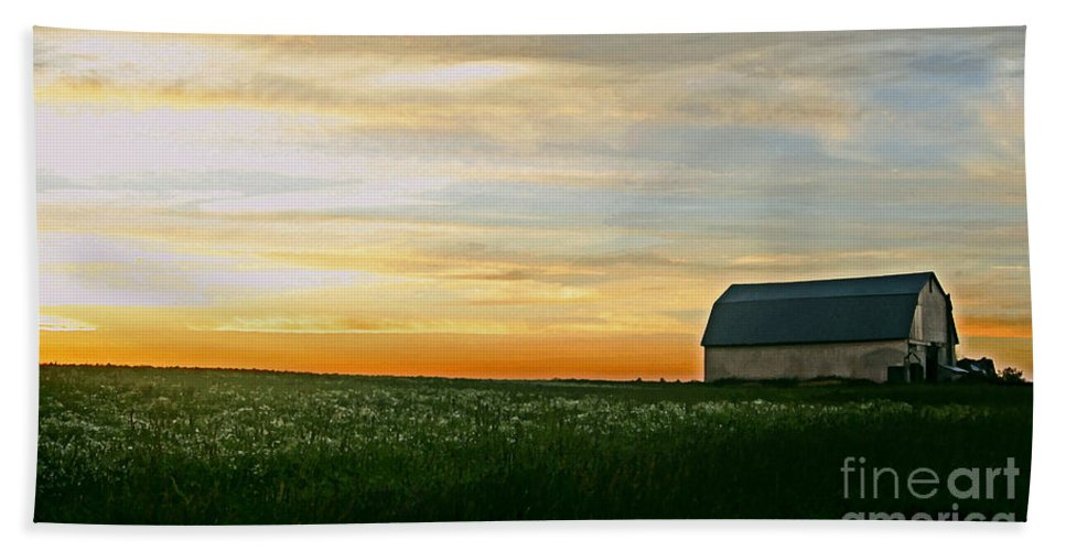 Barn Hand Towel featuring the photograph Aroostook Sunset by Laura Mace Rand