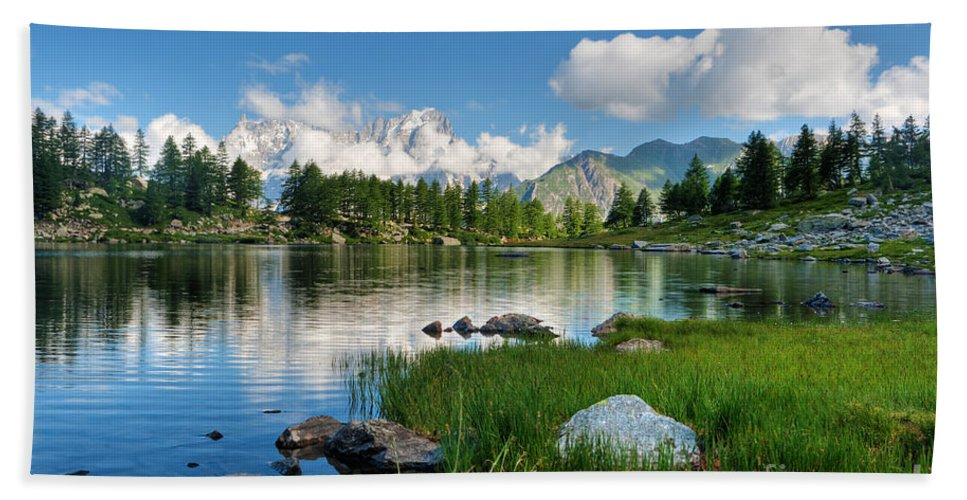 Alps Hand Towel featuring the photograph Arpy Lake - Aosta Valley by Antonio Scarpi