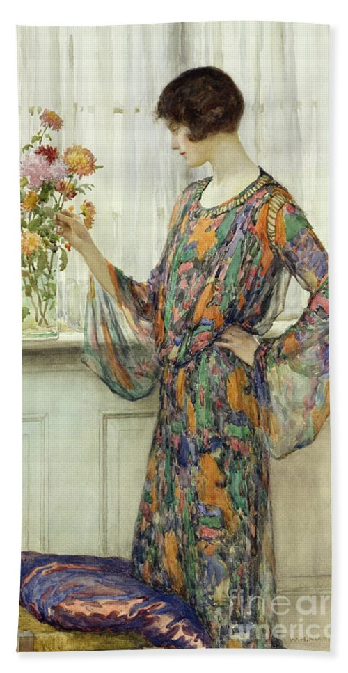 Woman Hand Towel featuring the painting Arranging Flowers by William Henry Margetson