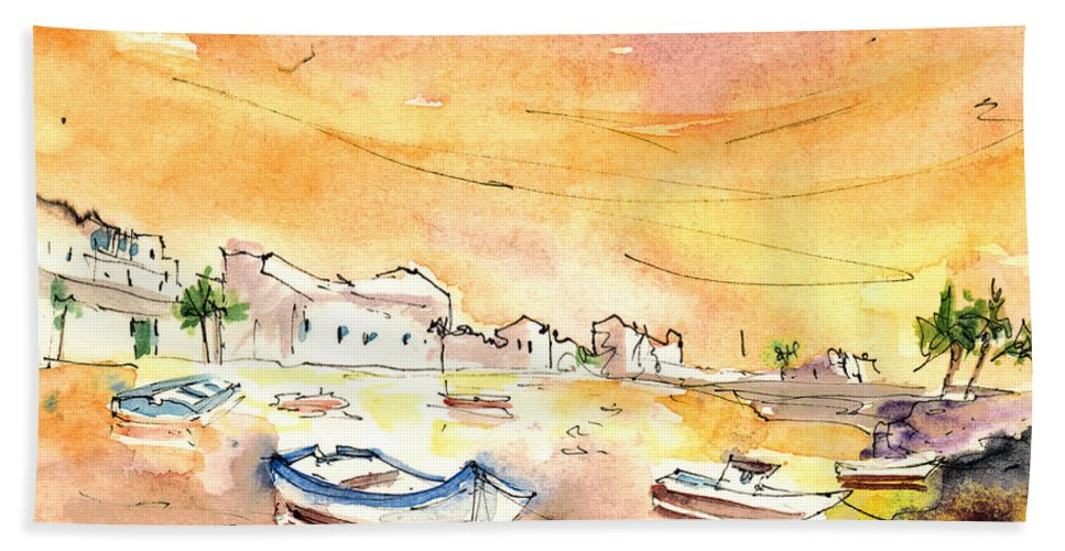 Travel Hand Towel featuring the painting Arrecife In Lanzarote 08 by Miki De Goodaboom
